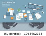 top view of office workplace... | Shutterstock .eps vector #1065462185
