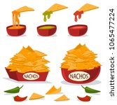 nachos in a plate with cheese ... | Shutterstock .eps vector #1065477224