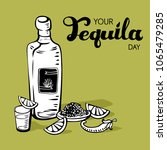 your tequila day retro poster.... | Shutterstock .eps vector #1065479285