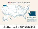 usa map vector  washington | Shutterstock .eps vector #1065487304