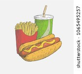 fast food. hot dog  french... | Shutterstock .eps vector #1065495257