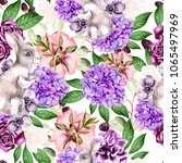 beautiful watercolor pattern... | Shutterstock . vector #1065497969