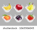 collection icons of fruit and... | Shutterstock .eps vector #1065506045