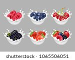 collection icons of fruit and... | Shutterstock .eps vector #1065506051
