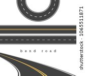bend road  straight and curved... | Shutterstock .eps vector #1065511871