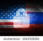 hacking padlock with flags... | Shutterstock . vector #1065528281