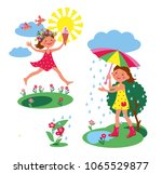 girl walks in clear weather and ... | Shutterstock .eps vector #1065529877