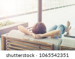 relax business woman lifestyle... | Shutterstock . vector #1065542351