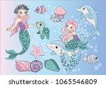 sea clipart mermaids color... | Shutterstock .eps vector #1065546809