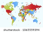 color world map vector | Shutterstock .eps vector #1065559394