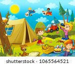 picnic in the woods kids are... | Shutterstock . vector #1065564521