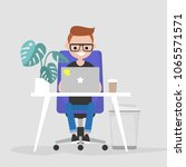 young character working on the... | Shutterstock .eps vector #1065571571