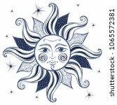 sun. vintage style. astrology. ... | Shutterstock .eps vector #1065572381
