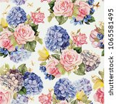 Stock vector beautiful floral seamless pattern with hydrangea and rose flowers 1065581495