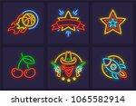 set of neon icons. burning... | Shutterstock .eps vector #1065582914