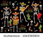 set of skeletons.mexican... | Shutterstock .eps vector #1065585854