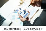 businessman analysis charts and ... | Shutterstock . vector #1065593864