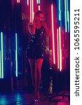 brunette woman wearing elegant... | Shutterstock . vector #1065595211