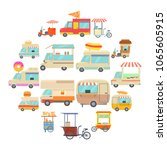 street food vehicles icons set. ...   Shutterstock .eps vector #1065605915