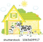 spotted cow and her small calf... | Shutterstock .eps vector #1065609917