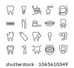 dentist icon set made in line... | Shutterstock .eps vector #1065610349