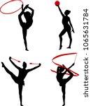 rhythmic gymnastics silhouettes ... | Shutterstock .eps vector #1065631784