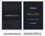 set of wedding invitations... | Shutterstock .eps vector #1065635831