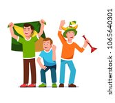 three cheering football fans... | Shutterstock .eps vector #1065640301