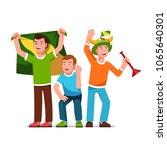three cheering football fans... | Shutterstock .eps vector #1065640301