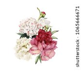white flowers and leaves.... | Shutterstock .eps vector #1065666671