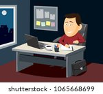 funny man with laptop and... | Shutterstock .eps vector #1065668699