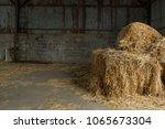 Hay Bales On Barn Floor