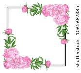 tender pink peonies on corners...   Shutterstock .eps vector #1065682385