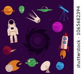 space  cosmos objects icon set. ...