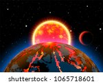 scenic space landscape with sun ...   Shutterstock .eps vector #1065718601