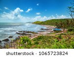 beautiful anjuna beach of goa ... | Shutterstock . vector #1065723824