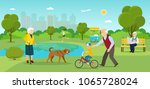 grandmother is walking with a... | Shutterstock .eps vector #1065728024