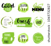 healthy food icons  labels.... | Shutterstock .eps vector #1065732827