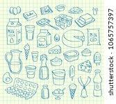 vector set of hand drawn dairy...   Shutterstock .eps vector #1065757397