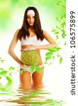healthy eco woman in water with ... | Shutterstock . vector #106575899