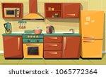 vector cartoon set of kitchen... | Shutterstock .eps vector #1065772364