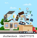 the truck is carrying things... | Shutterstock .eps vector #1065777275