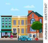 city street with apartment... | Shutterstock .eps vector #1065777347