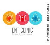 ent logo template. head for ear ... | Shutterstock .eps vector #1065792581