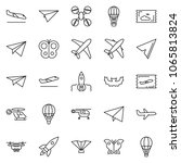 thin line icon set   fly ticket ... | Shutterstock .eps vector #1065813824