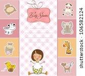 new baby girl announcement card ... | Shutterstock .eps vector #106582124
