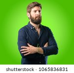 young hipster man with big... | Shutterstock . vector #1065836831