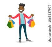 happy african american consumer ... | Shutterstock .eps vector #1065837977