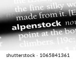 Small photo of alpenstock word in a dictionary. alpenstock concept.