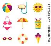 set of beach summer vacation...   Shutterstock .eps vector #1065841835